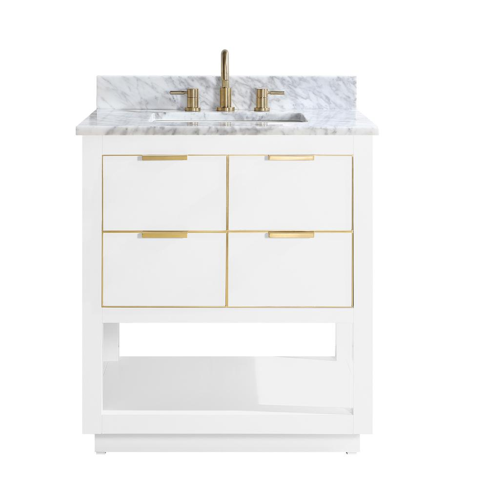 Avanity Allie 31 in. W x 22 in. D Bath Vanity in White with Gold Trim with Marble Vanity Top in Carrara White with White Basin