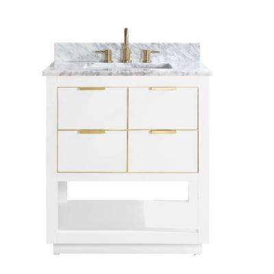 Allie 31 in. W x 22 in. D Bath Vanity in White with Gold Trim with Marble Vanity Top in Carrara White with White Basin