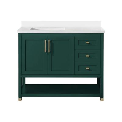 Kenmont 42 in. w x 22 in. D Vanity in Emerald Green with Cultured Marble Vanity Top in White with White Basin