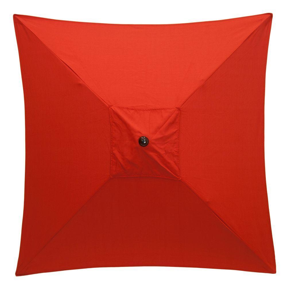 6 ft. Square Aluminum Patio Market Patio Umbrella in Ruby Tweed