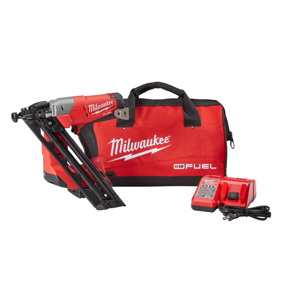 Milwaukee M18 FUEL 18-Volt Lithium-Ion Brushless Cordless 15-Gauge Angled Finish Nailer Kit W/ (1) 2.0Ah Battery, Charger & Bag