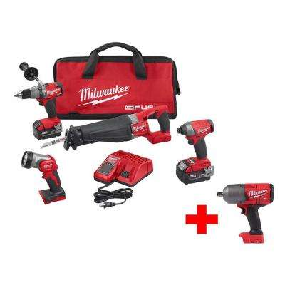 M18 FUEL 18-Volt Lithium-Ion Brushless Cordless Combo Kit (4-Tool) W/ Free M18 FUEL 1/2 in. Impact Wrench