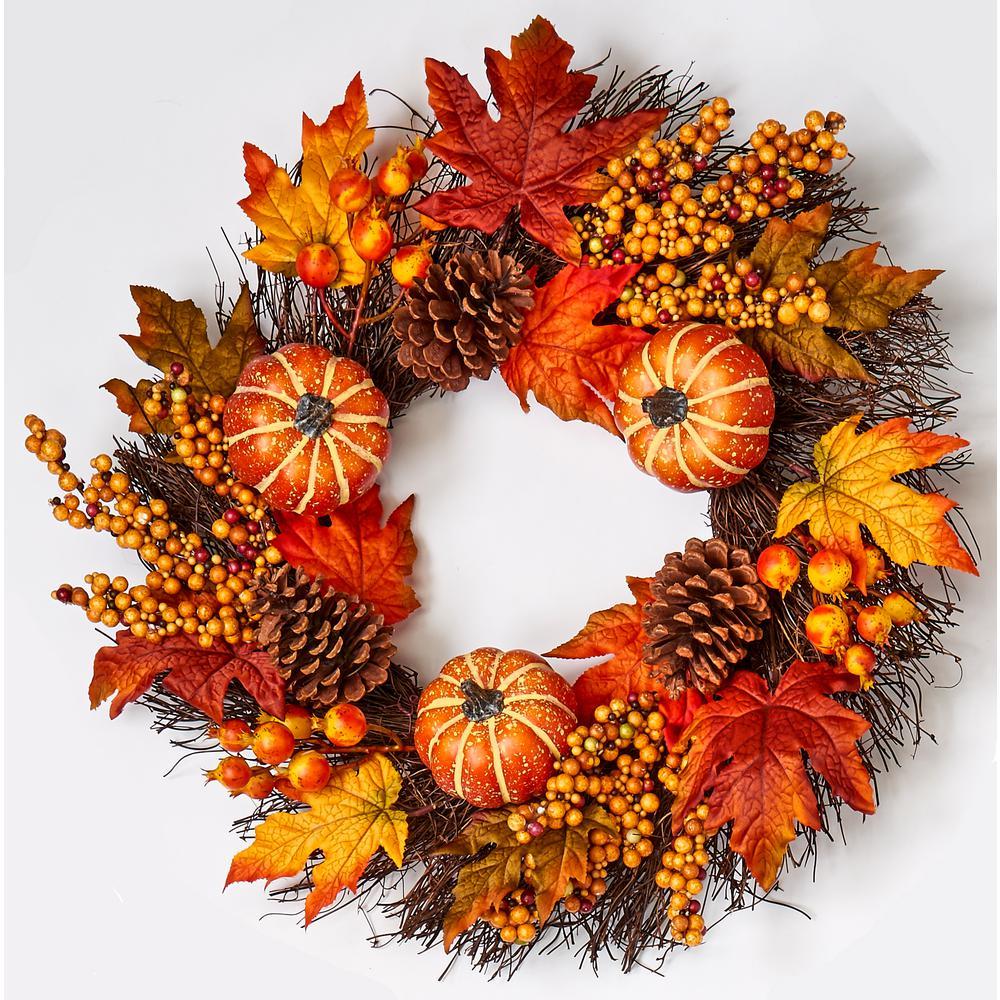 24 in. Pumpkin Cone Berry Leaf Wreath