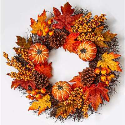 24 in. Pumpkin Cone Berry Leaf Wreath