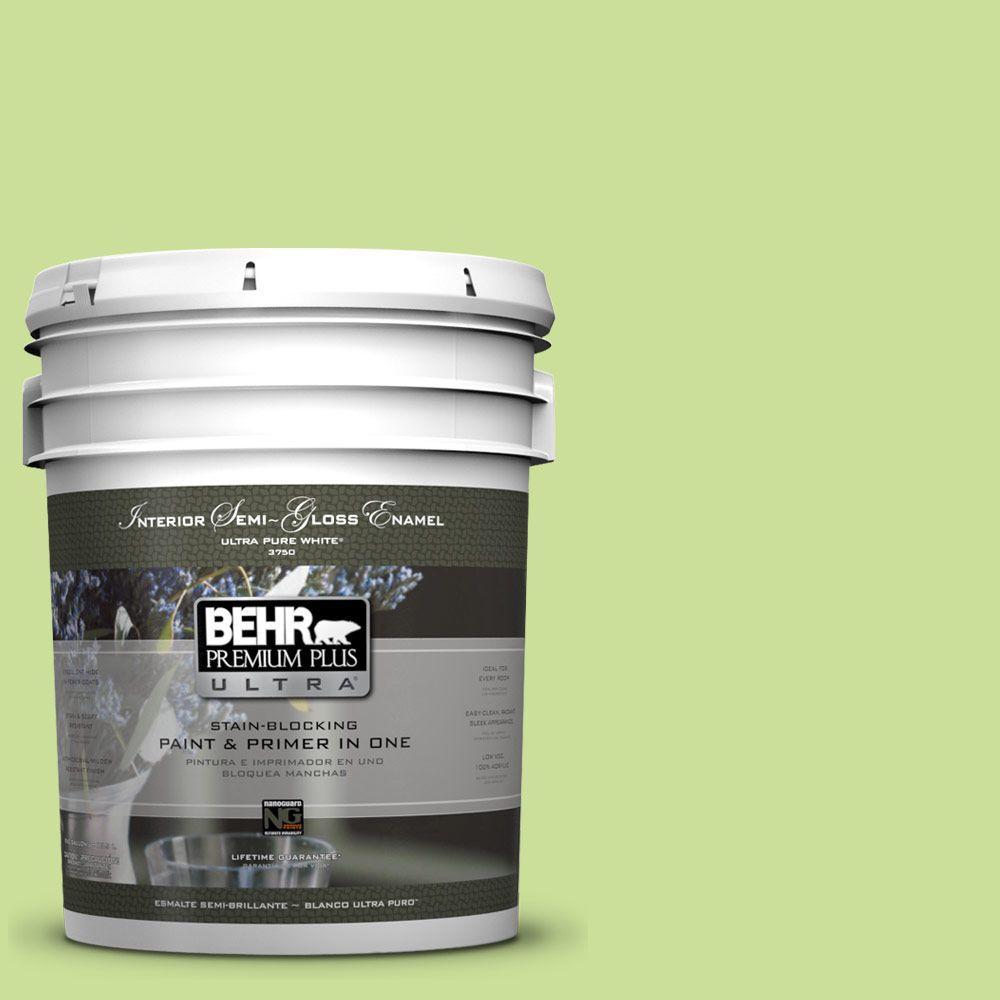 BEHR Premium Plus Ultra 5-gal. #420A-3 Key Lime Semi-Gloss Enamel Interior Paint