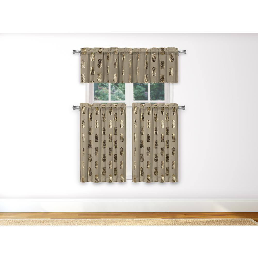 Duck River Alohi Kitchen Valance In Taupe Gold 15 In W X 58 In L 3 Piece