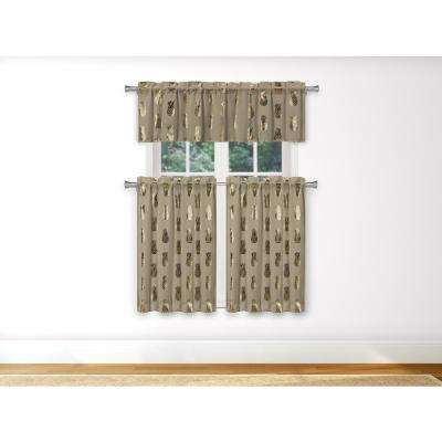 Alohi Kitchen Valance in Taupe-Gold - 15 in. W x 58 in. L (3-Piece)
