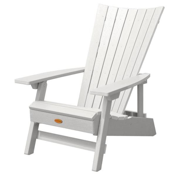 Manhattan Beach White Folding and Reclining Recycled Plastic Adirondack Chair