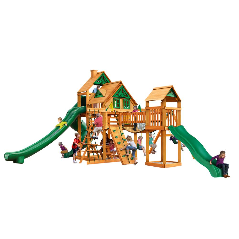 Gorilla Playsets Treasure Trove II Treehouse Wooden Swing Set with 3 Slides and Clatter Bridge