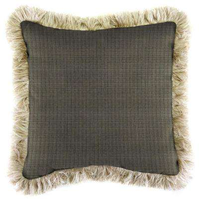 Sunbrella Surge Charcoal Square Outdoor Throw Pillow with Canvas Fringe