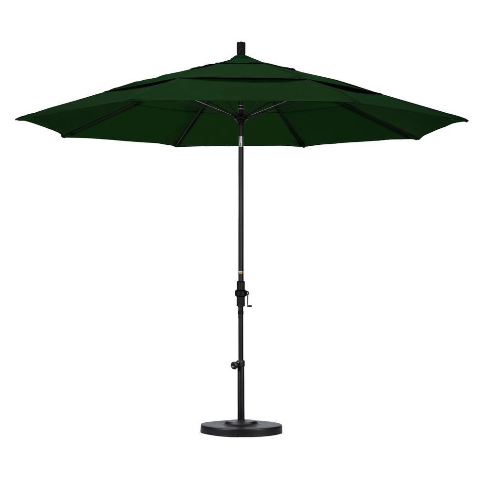 11 ft. Fiberglass Collar Tilt Double Vented Patio Umbrella in Hunter Green Pacifica