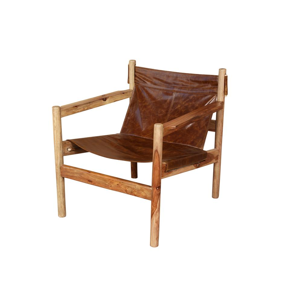 Porter Designs Genoa Brown Leather and Natural Sheesham Wood Leather Sling Chair
