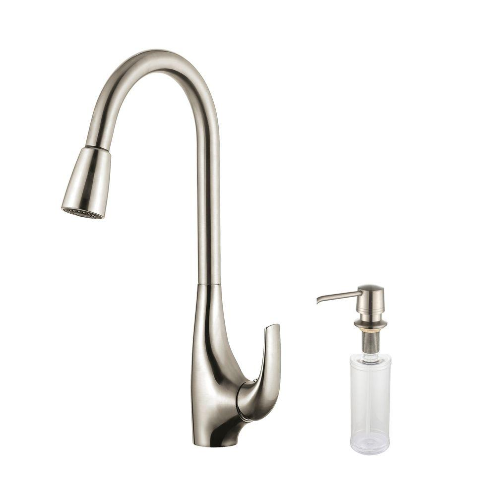 Kraus Single-Handle High Arc Pull-Down Kitchen Faucet wit...