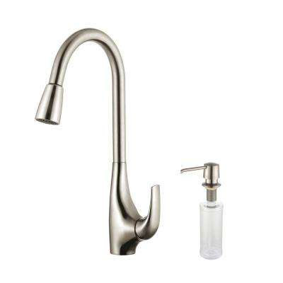 Single-Handle High Arc Pull-Down Kitchen Faucet with Dual-Function Sprayer with Soap Dispenser in Stainless Steel