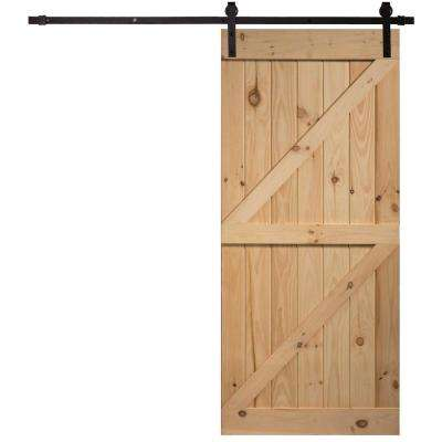 40 in.x87 in. Timber Hill Double Z Unassembled Unfinished Knotty Pine Wood Barn Door Kit with Sliding Door Hardware Kit