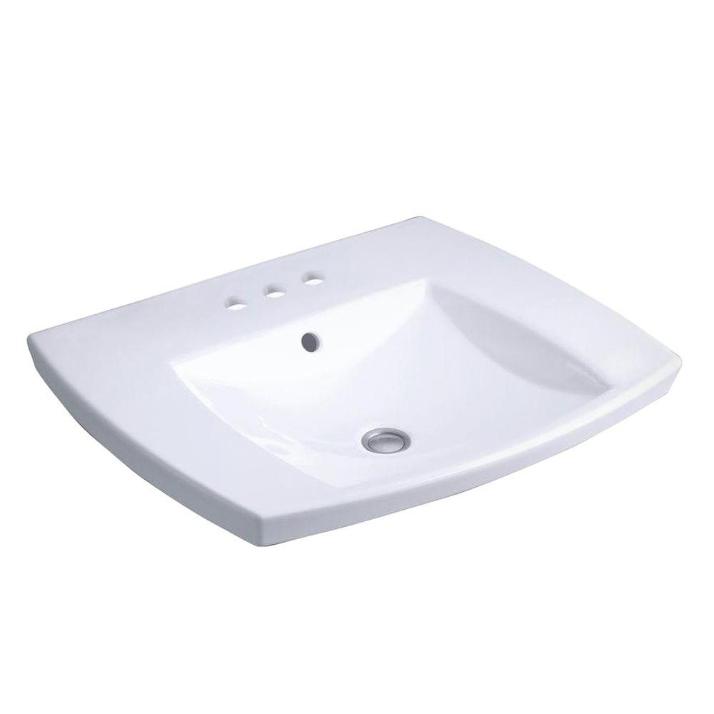 Kohler Kelston Drop In Vitreous China Bathroom Sink In White With Overflow Drain K 2381 8 0