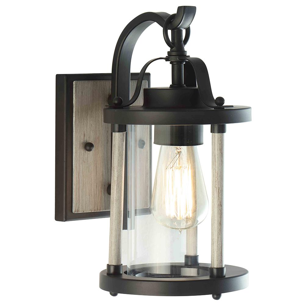 outlet store 07e77 d7b6b DSI 1-Light Black Iron and Wood Outdoor Wall Lantern Sconce with Clear  Glass Shade