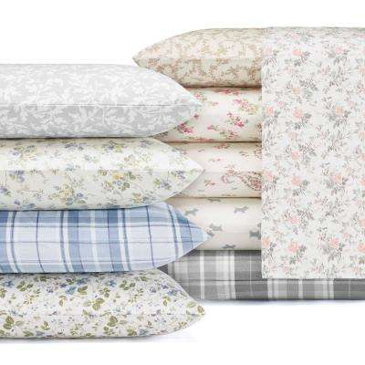 Spring Bloom Peddle Blue 4-Piece Full Cotton-Flannel Sheet Set