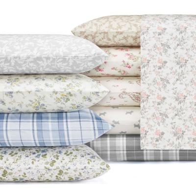 Flannel 3-Piece Light Pastel Grey Floral Twin Sheet Set