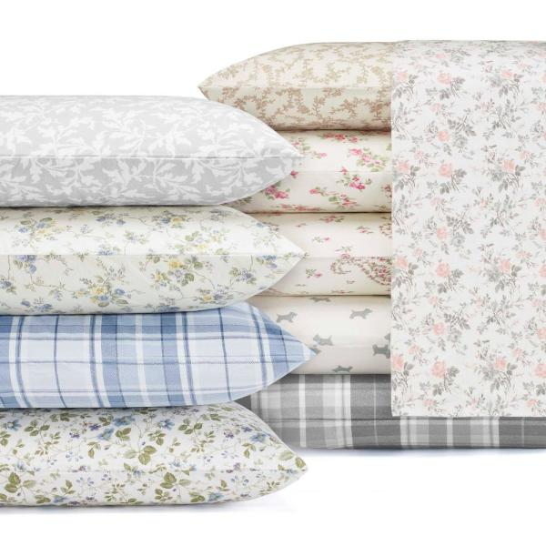 Laura Ashley Le Fleur Blue 4-Piece King Cotton-Flannel Sheet Set USHSA01065724