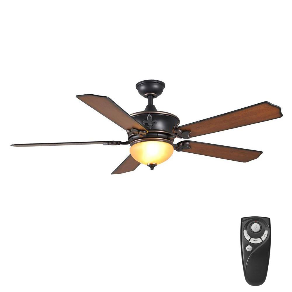 Home Decorators Collection Royal Breeze 60 In Indoor Tarnished Bronze Ceiling Fan With Light