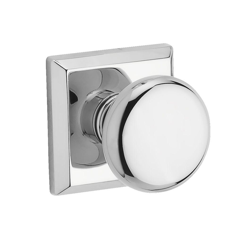 Chrome Door Knobs >> Baldwin Reserve Round Polished Chrome Hall Closet Door Knob With Traditional Square Rose