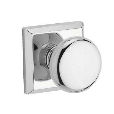 Reserve Round Polished Chrome Hall/Closet Knob with Traditional Square Rose