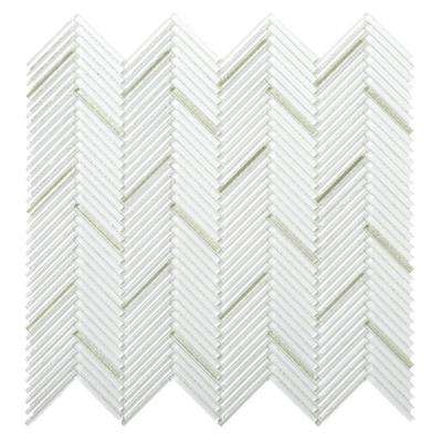 Pivot Bend Glossy 11.06 in. x 11.81 in. x 10mm Glass Mesh-Mounted Mosaic Tile