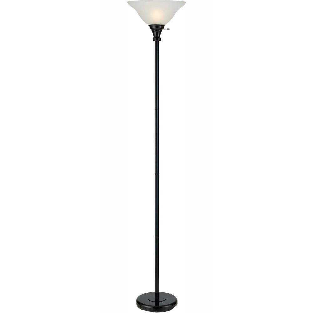 Cal Lighting 70 In Black Metal Torchiere With Glass Shade Bo 213 Bk The Home Depot