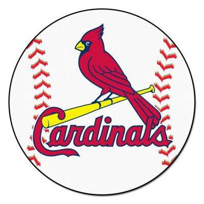 MLB St. Louis Cardinals White 2 ft. x 2 ft. Round Area Rug