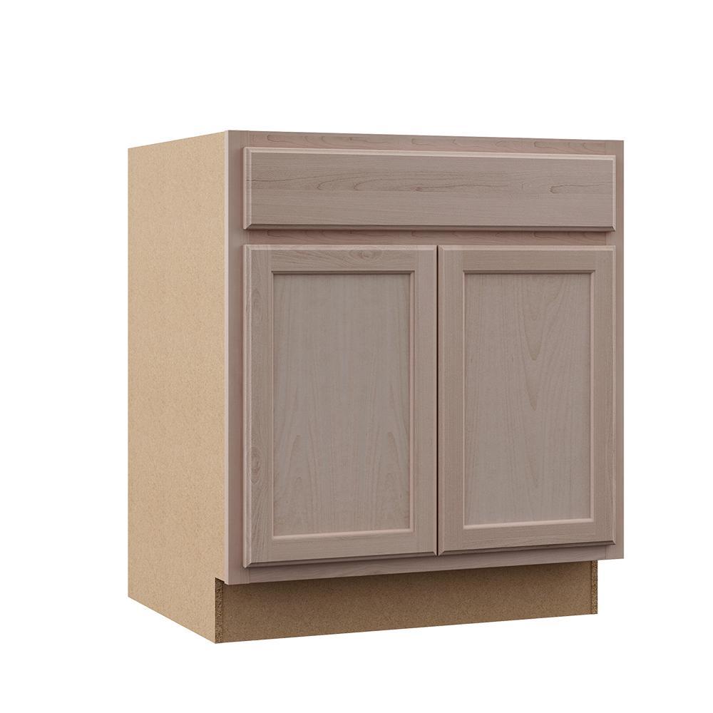 Hampton Bay Hampton Assembled 30x34.5x24 in. Base Kitchen Cabinet in  Unfinished Beech