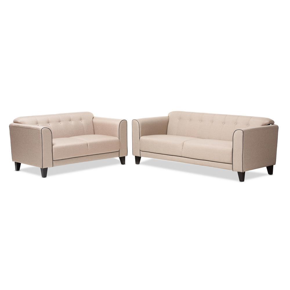 Lottie 2-Piece Beige Living Room Set