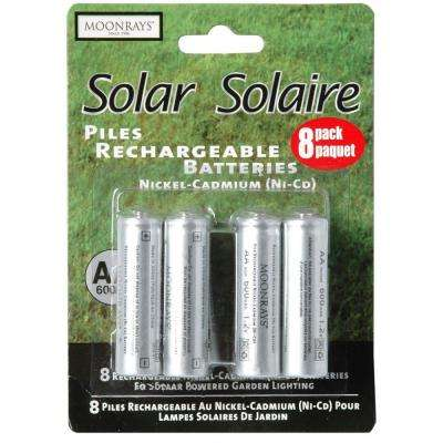 Rechargeable 600mAh NiCd AA Batteries for Solar Powered Units (8-Pack)