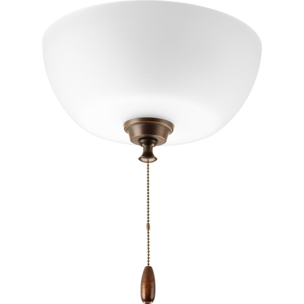 Progress Lighting Wisten Collection 3-Light Antique Bronze Ceiling Fan Light