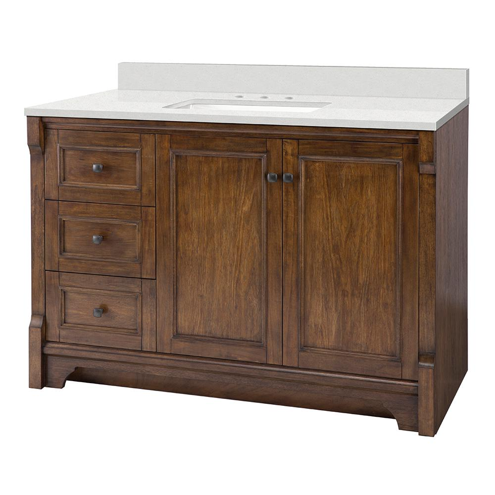 Home Decorators Collection Creedmoor 49 in. W x 22 in. D Vanity Cabinet in Walnut with Engineered Marble Vanity Top in Snowstorm with White Sink