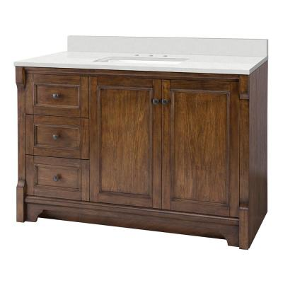 Creedmoor 49 in. W x 22 in. D Vanity Cabinet in Walnut with Engineered Marble Vanity Top in Snowstorm with White Sink