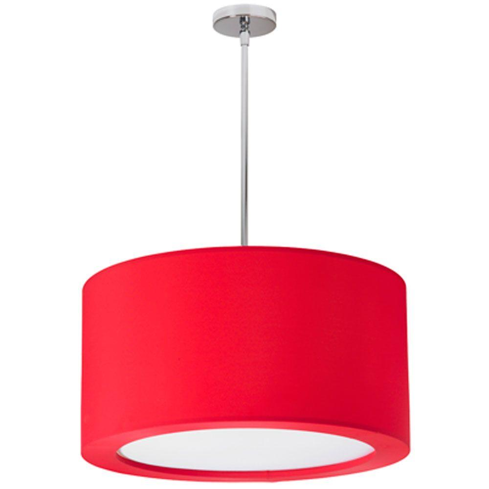 Radionic Hi Tech Jasmine 3-Light Polished Chrome Pendant with Red Lycra Shade with Diffuser