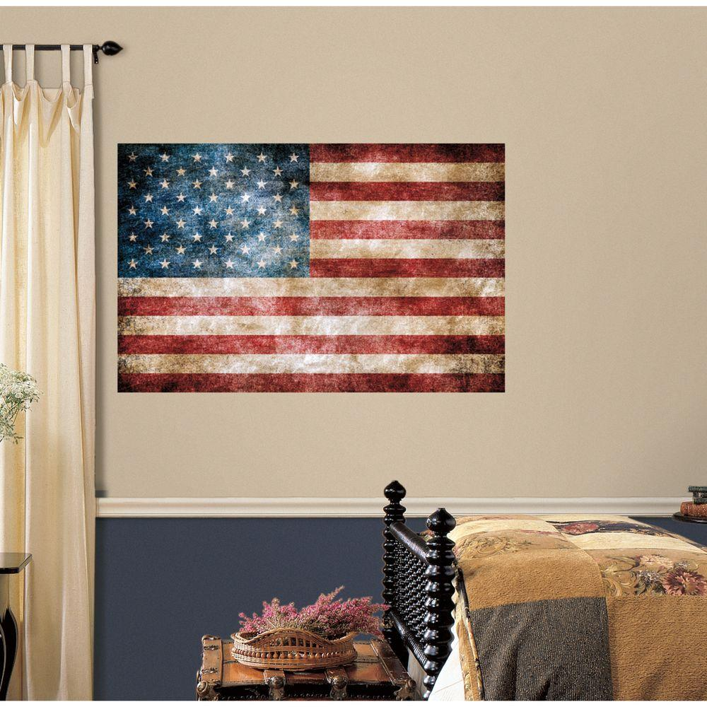 Vintage American Flag Peel And Stick Giant Wall