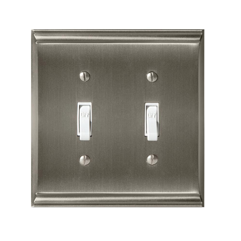 Candler 2-Toggle Wall Plate, Satin Nickel
