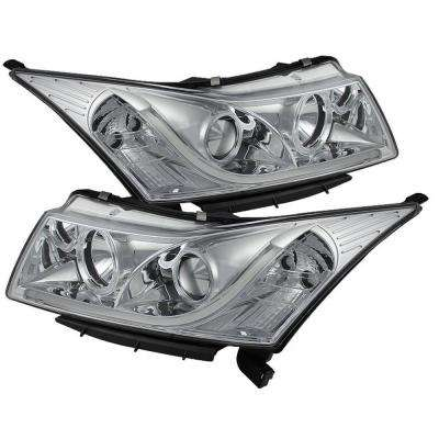 Chevy Cruze 11-14 Projector Headlights - Light Tube DRL - Chrome - High H1 (Included) - Low H7 (Included)