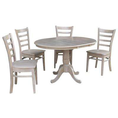 Laurel 5-Piece Oval Weathered Gray Dining Set with Emily Chairs