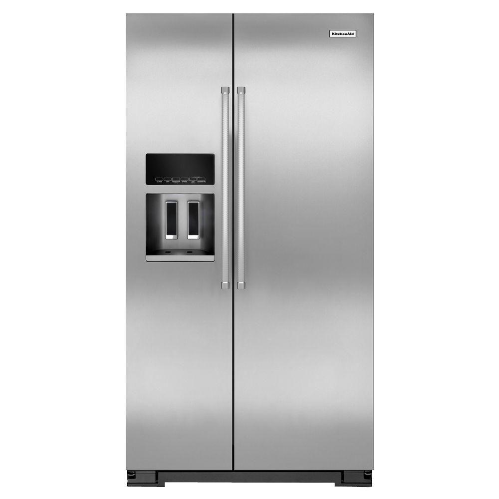 KitchenAid 36 In. W 19.9 Cu. Ft. Side By Side Refrigerator In Monochromatic  Stainless Steel, Counter Depth KRSC500ESS   The Home Depot