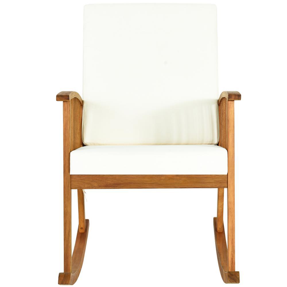 Teak Acacia Wood Outdoor Rocking Chair with Beige Cushion