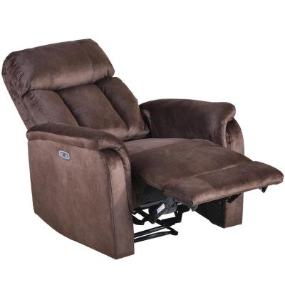 Brown Microfiber Power Motion Recliner with USB Charge Port