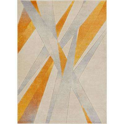 Ruby Lalu 5 ft. 3 in. x 7 ft. 3 in. Modern Abstract Lines Yellow Area Rug