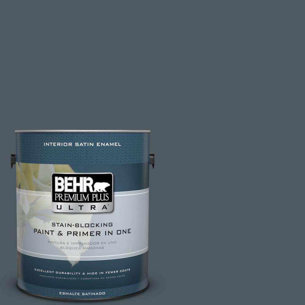 BEHR Premium Plus Ultra 1-gal. #N470-7 Submarine Gray Satin Enamel Interior Paint