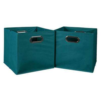 Cubo 12 in. x 12 in. Teal Foldable Fabric Bins (2-Pack)