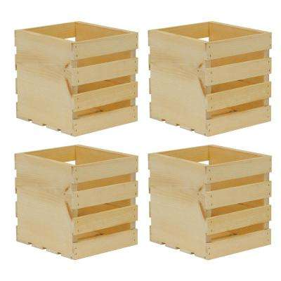 9.5 in. x 9 in. x 9.5 in. Square Wood Crate (4-Pack)