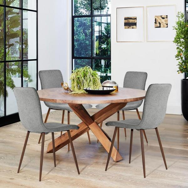 Furniturer Scargill Grey Fabric Dining Chair Set Of 4 Scargill Grey The Home Depot