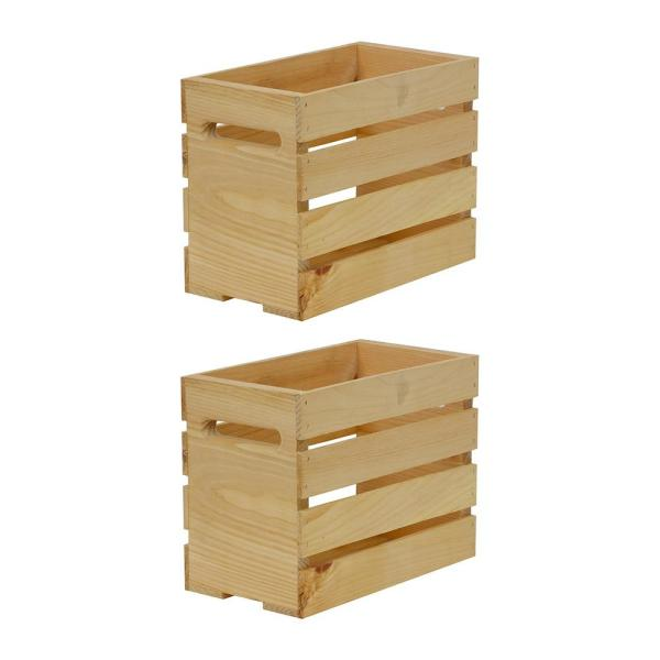 12.5 in. x 6.75 in. x 9.5 in. Growler Small Wood Crate (2-Pack)